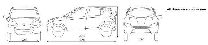 Alto 800 Car Dimensions in Picture